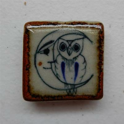 "Owl on the Moon Tile ""Magnet Refrigerator"" Mexican Ceramic Tile, Tonala Wall Art"