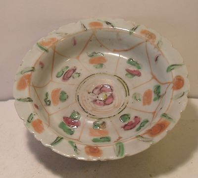 19th Century Small Chinese Famille Rose Hand Painted Footed Dish