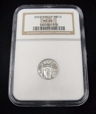 2002 $10 STATUE OF LIBERTY! NGC MS 69! .9995 PLATINUM! 1/10 oz! GB6078