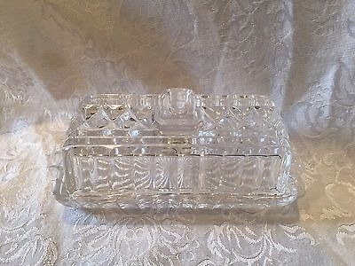Vintage Longchamp Cristal D'Arques Crystal Butter Dish; 24% LEAD; Made in France