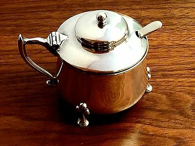Colen Hewer Cheshire English Sterling Silver Mustard Pot & Spoon: Chester 1920