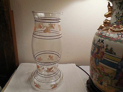 """Old 2 Pc Glass Hurricane Chimney Centerpiece Globe & Candle Holder 13 1/4"""" Tall"""