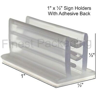 """SuperGrip 1"""" x 1/2"""" Sign Holder With Adhesive - 25, 50 or 100 Pcs"""
