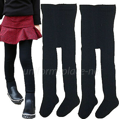 3 pairs Girls Warm Winter Tights, School Uniforms Ribbed Tights Black XL, Navy S