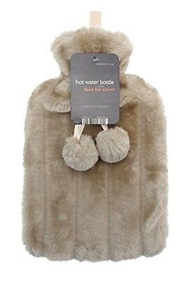 Luxurious Cosy Faux Fur Cover Hot Water Bottles with Pom Poms: 2 Litre Size (...