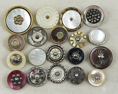 Antique Vintage Buttons ~ Fancy Pearl MOP Shell: Carved-Steels-Dyed ~ Mixed Lot