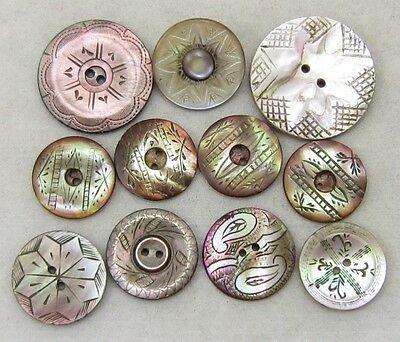 Antique Vintage Buttons Lot ~ Engraved Pearl & Abalone ~ Florals, Stars, Paisley