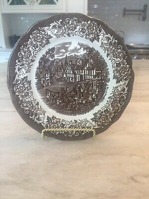 J & G Meakin STRATFORD STAGE BROWN Ironstone: Single DESSERT / PIE PLATE 7""