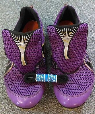 Womens Puma TFX Spirit Track Shoes Spikes Size 9.5 Purple, yellow and black