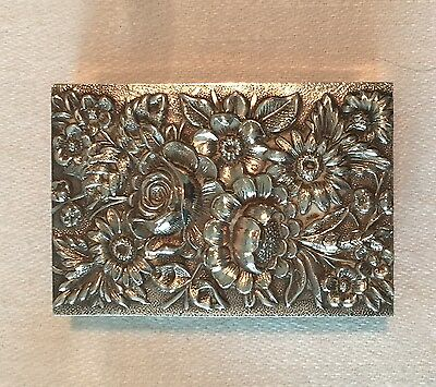 """S Kirk & Son """"repousse"""" Sterling Silver Match Box Cover, Vintage"""
