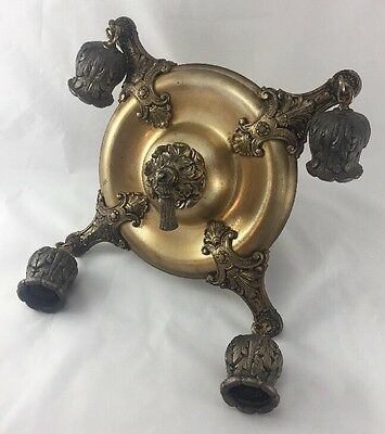 ORNATE ART DECO 4 BULB CHANDELIER CEILING Hanging LIGHT FIXTURE Brass