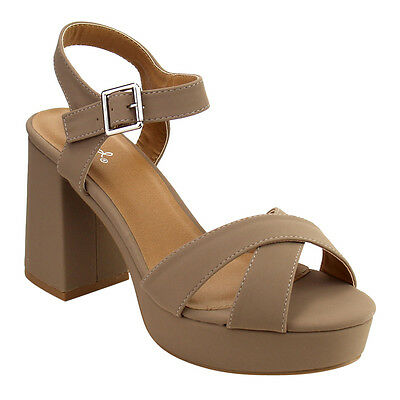 Women's Criss Cross Strap Block Heel Platform Sandals TAUPE Size 8