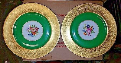2 Heinrich & Co Selb Bavaria Dinner~Charger Plates Heavy Gold & Floral