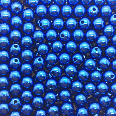 NEW  100PCS 6mm Deep blue  Acrylic Round Pearl Spacer Loose Beads Jewelry Making