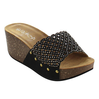 Women's Rhinestone Studded Slip On Platform Wedge Sandal BLACK Size 8