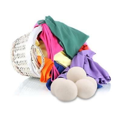 6CM Natural Fabric Virgin Wool Dryer Balls Reusable Softener Laundry White NEW S