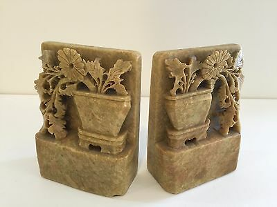 """Pair Vintage Chinese Hand Carved Soap Stone, Marble Bookends, 5 1/4"""" T x 4"""" Wide"""