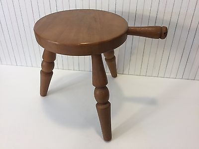 """Vintage Authentic Furniture Wooden 3 Leg Milking Stool w/Handle, 11 1/2"""" Tall"""