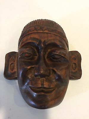 """Vintage Hand Carved Wooden Haitian (?) Mask for Wall Decor, 7 1/2"""" H x 7"""" Widest"""