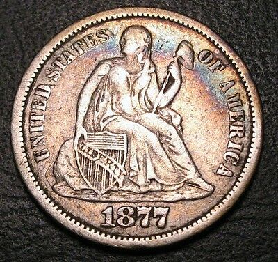 Old Us Coins 1877 Cc Silver Liberty Seated Dime  Beauty ** Free Shipping