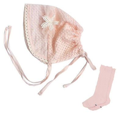 Set of 2 - Pink Baby Bonnet Toddlers Girl Eyelet Lace Cotton Sun Hat & Socks
