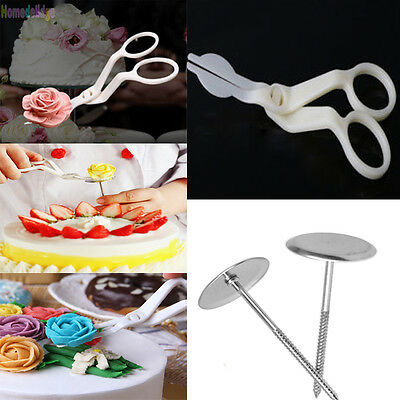 3Pcs Icing Piping Nozzle Scissors Flower Stand Nail Cake Decorating Baking Tools