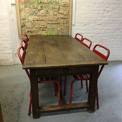 Industrial Vintage French Oak Antique Reclaimed Kitchen Farmhouse Table