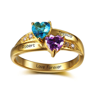 Size 6 Personalised Double Hearts Ring 925 Sterling Silver with 18K Gold Plating