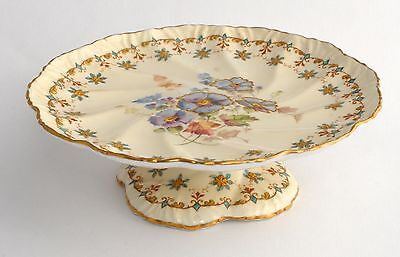 Antique Pointons England Footed Cake Plate/Stand - PANSIES, Gilt Highlights