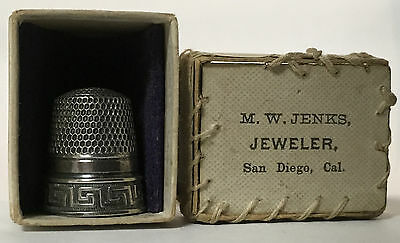 Stern Bros. - Sterling Thimble - Left Hand Greek Key Thimble - W/Box