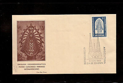 Argentina 1960 First Day Cover #722 First Inter American Marian Congress !!