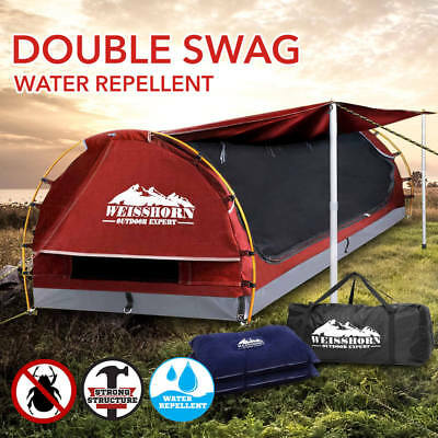 Weisshorn Double Red Camping Swags Canvas Free Standing Dome Tent Bag