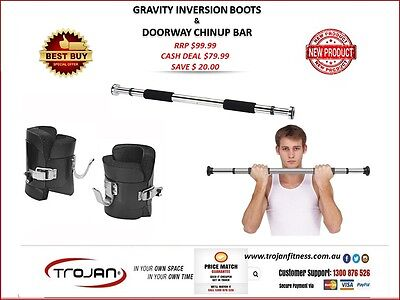 Gravity Inversion Boots + Doorway ChinUp Pull Up Bar for Therapy Hyper Extension