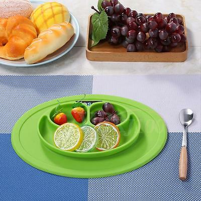 Green Silicone Mat Kid Suction Table Food Tray Placemat Plate Bowl Dish for Baby