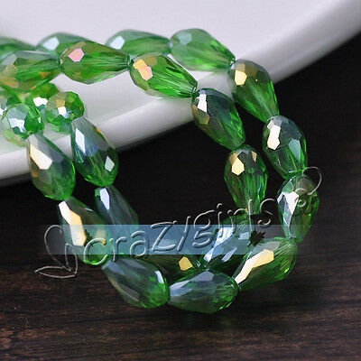 20pcs 12x8mm Green AB Teardrop Faceted Crystal Glass Spacer Beads Jewelry Crafts