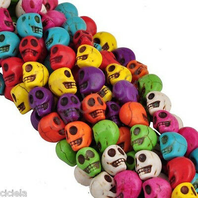 Wholesale 20Pcs Mixed Skull Turquoise spacer loose Beads Bracelet Jewelry 9x7MM