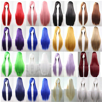 Women Fashion Lady Anime Long Straight Wavy Hair Party Cosplay Full Wig 80cm