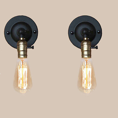 2 PCS Modern Metal Vintage Retro Industrial Fitting Wall Light Lamp With Switch