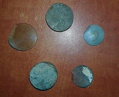 5 Ancient Roman glass fragments cut for jewelry