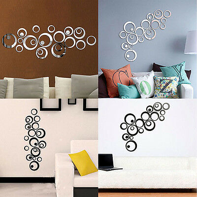 AU Mirror Wall Art Stickers Removable Home Office Decor Vinyl Art Decal Gift