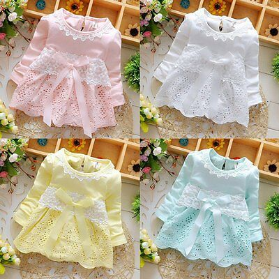 AU Toddler Kid Baby Girl Lace Flower Bow Dress Long Sleeve Party Blouse Sundress