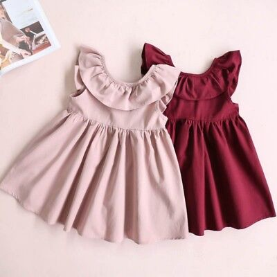 Cute Baby Kids Girls Cotton Sin mangas Vestir Party Casual Bowknot Mini Vestido