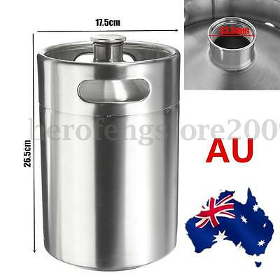 2x 5L Beer Stainless Steel Mini Keg Growler Mini Keg Style Home Brew Brewing AU
