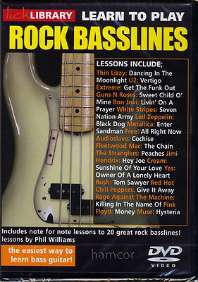 Learn to Play Rock Basslines Lick Library Bass Guitar Tuition DVD