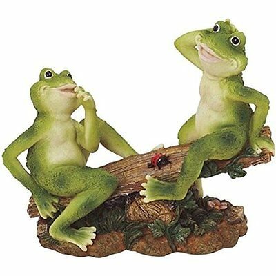 2 Frogs on Seesaw Garden Decoration Collectible Figurine Statue Model Gift Cute