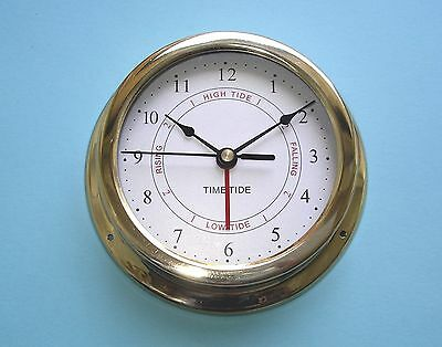 MEGA-QUARTZ SHIPS TIME and TIDE ONLY QUARTZ CLOCK polished brass case