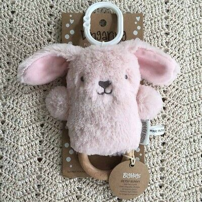 O.B Designs Dingaring Betsy Bunny (Pink) - Baby Wooden Teething Rattle Toy OB