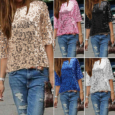 Womens Ladies Sequined Bling Shiny Tank Top Short Sleeve T Shirt Blouse