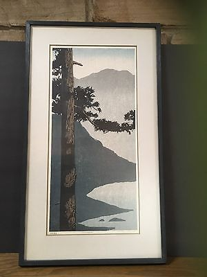 Signed numbered TED COLYER framed Japanese Asian Woodblock Print TREES Seijaku
