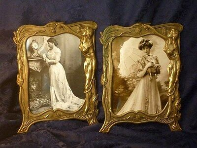 Antique Jugendstil gilded brass photo frames Art Nouveau cadres photo laiton